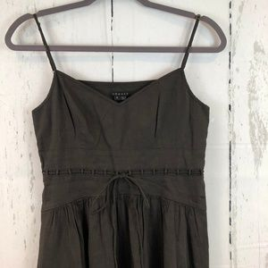 Theory Brown Tie Waist Linen Blend Noelle Dress